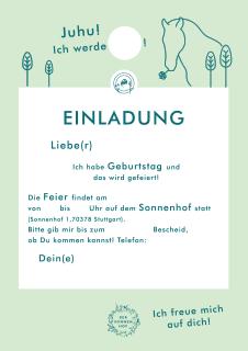 Kindergeburtstagseinladung Sonnenhof Stuttgart