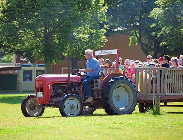 Traktorfahrt über Wiesen und Felder
